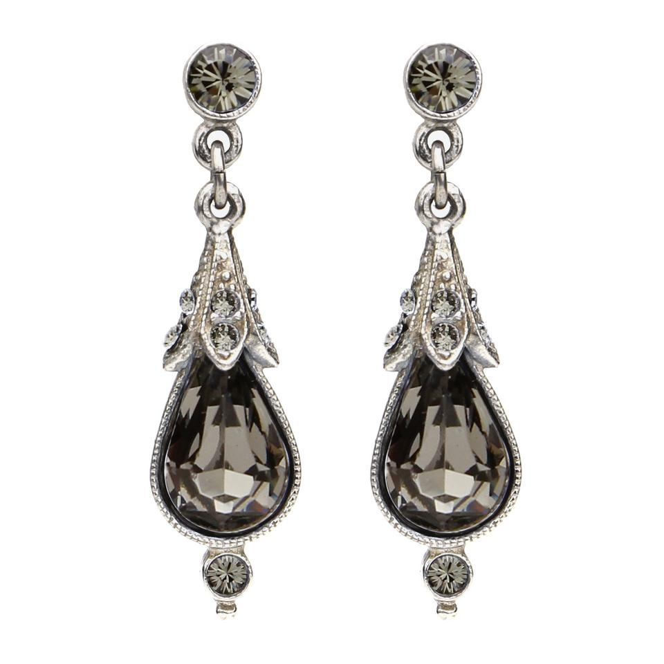Ben Amun Grey Smoke Vintage Teardrop Earrings