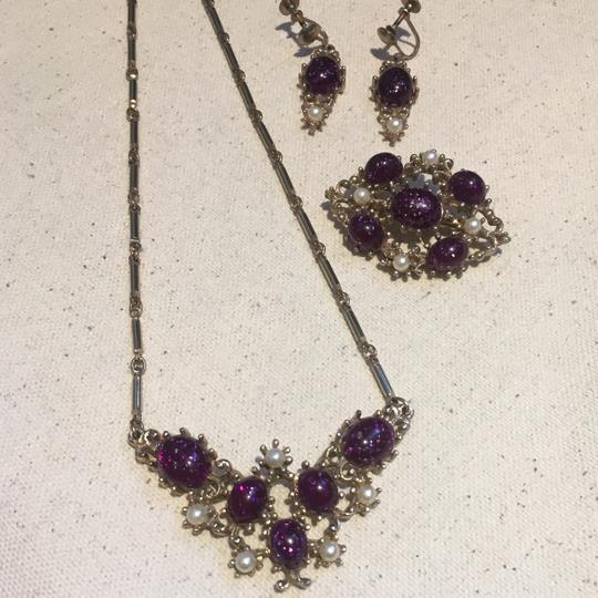 Vintage Vintage Purple Stone & Pearl Necklace Earrings & Brooch Pin Set