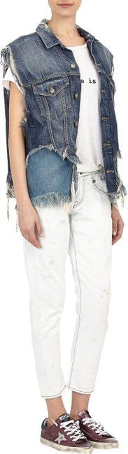 Item - Off Blue Distressed Bleached Boy Skinny Crop Capri/Cropped Jeans Size 28 (4, S)