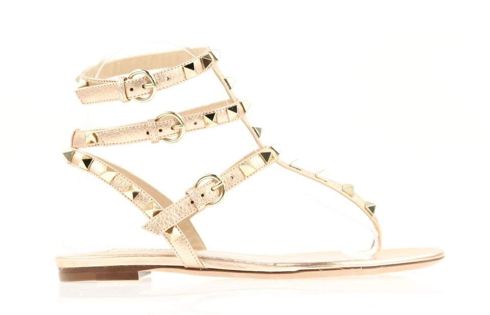 17a31c2cbc93 Valentino Pink Rockstud Rose Gold Leather Triple Strap Gladiator Sandals
