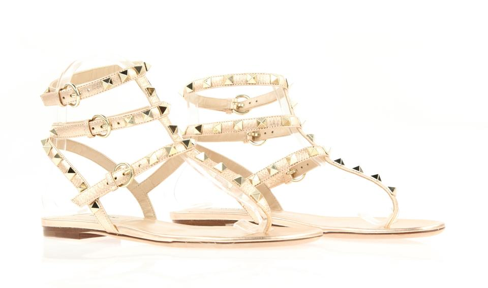 913ce29f4604 Valentino Pink Rockstud Rose Gold Leather Triple Strap Gladiator Sandals  Size EU 35 (Approx. US 5) Regular (M