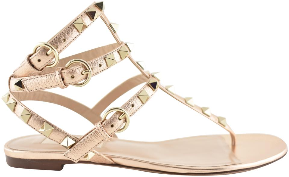 1b24a2610a88 Valentino Gold Rockstud Rose Leather Triple Strap Gladiator Flat Sandals