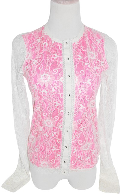Preload https://img-static.tradesy.com/item/23369055/patrizia-pepe-white-pink-women-lace-cardigan-small-button-down-top-size-4-s-0-1-650-650.jpg