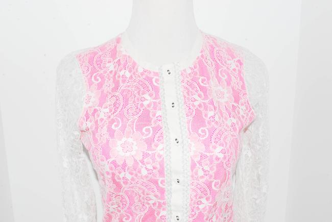 Patrizia Pepe Cardigan Lace Button Down Shirt WHITE, PINK