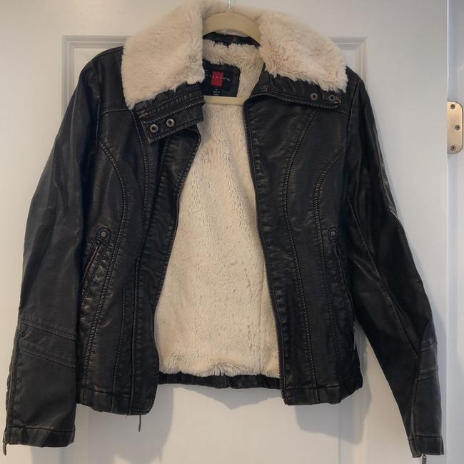 Gallery Brown with Ivory Fur Leather Jacket