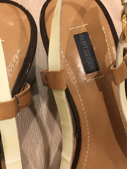 Kurt Geiger London Brown patent and camel leather Sandals