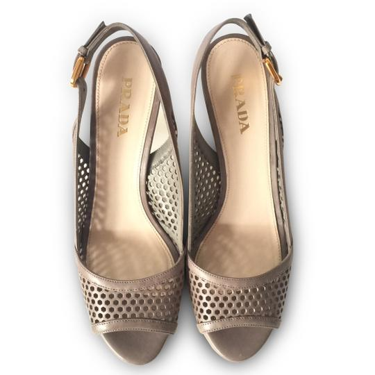 Prada Stiletto Slingback Peep Toe Cut-out Leather Grey Platforms