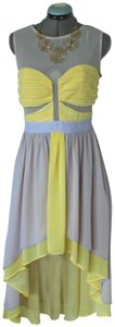 Lilac and Yellow Maxi Dress by Ark & Co. High Low Open Back Sheer Panel Sheer Sundress