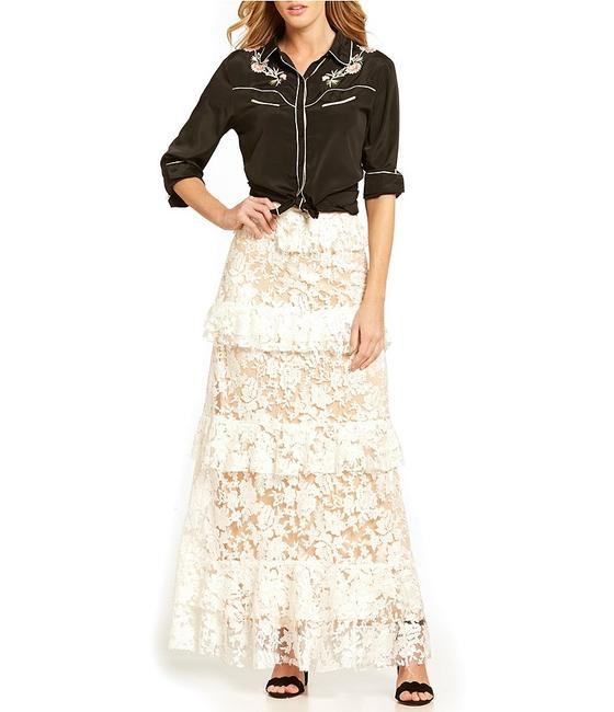 Willow & Clay Riviera Lace Tiered Romantic Maxi Skirt white