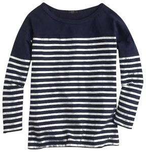 J.Crew T Shirt Navy with silver stripes
