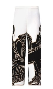 Tory Burch Relaxed Fit Wide Leg Pants White with black horse print