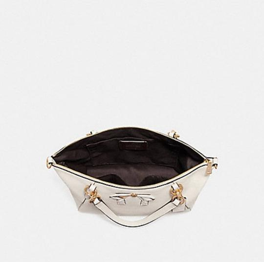 Coach Kelsey Pebbled Leather Crossbody Satchel in white Image 3