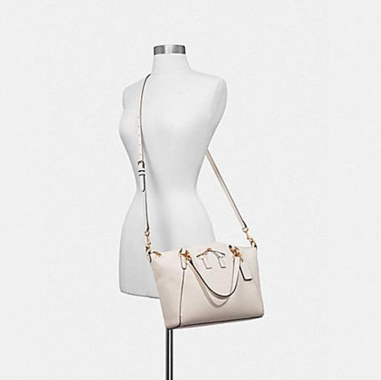 Coach Kelsey Pebbled Leather Crossbody Satchel in white Image 4
