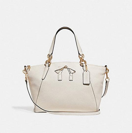 Coach Kelsey Pebbled Leather Crossbody Satchel in white Image 8