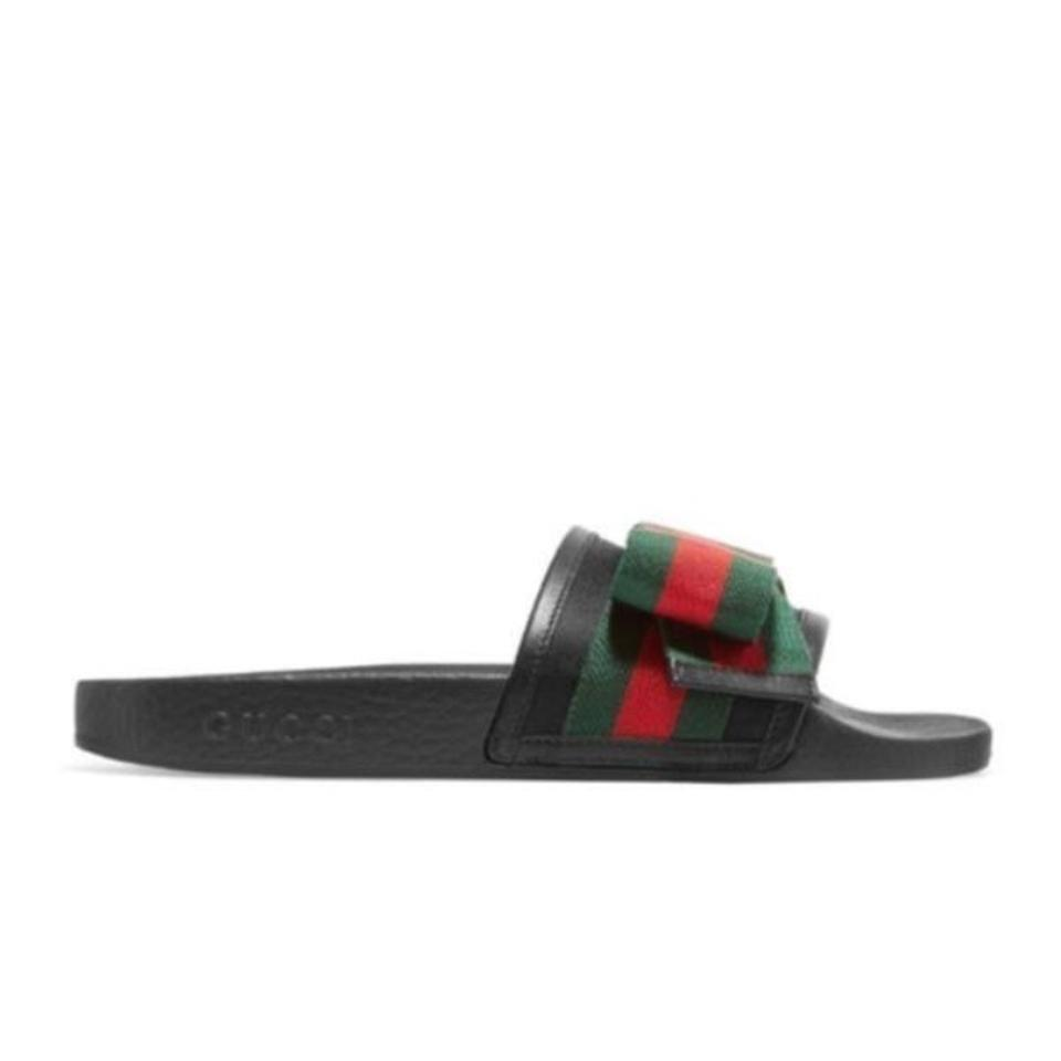 c51ecf43152c55 Gucci Black Red Green Slide with Satin Web Bow Sandals Size US 8 ...
