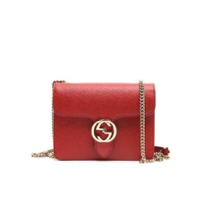 445fb375ee6f Gucci Medium Iconic Gg Chain Interlocking Red Leather Cross Body Bag ...