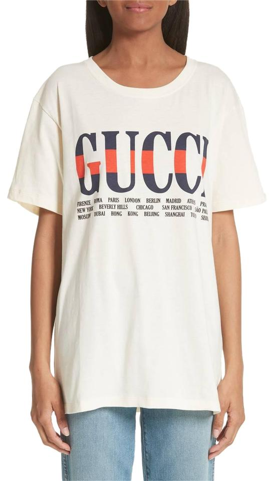 73d5fa9882c0 Gucci Ivory New Logo Cotton Cities Graphic Medium M Tee Shirt Size 8 ...