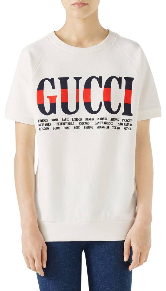 56c3210f3bd7 Gucci New Sleeve Logo Cities Sweatshirt Xs Extra Small Ivory Sweater. Size   2 ...