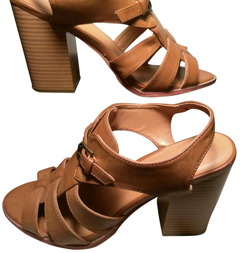60d26aacda39 Maurices Caramel Brown Wooden Straps   Buckles Wedges. Size  US 11 ...