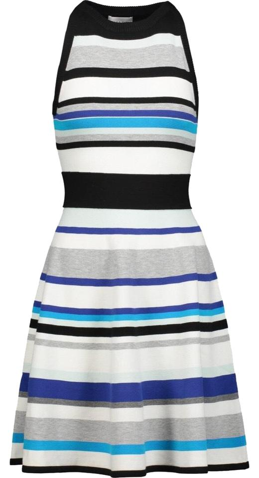 7929c846d4 MILLY Blue White Black Striped Flare Skirt Missoni Theory Halston ...