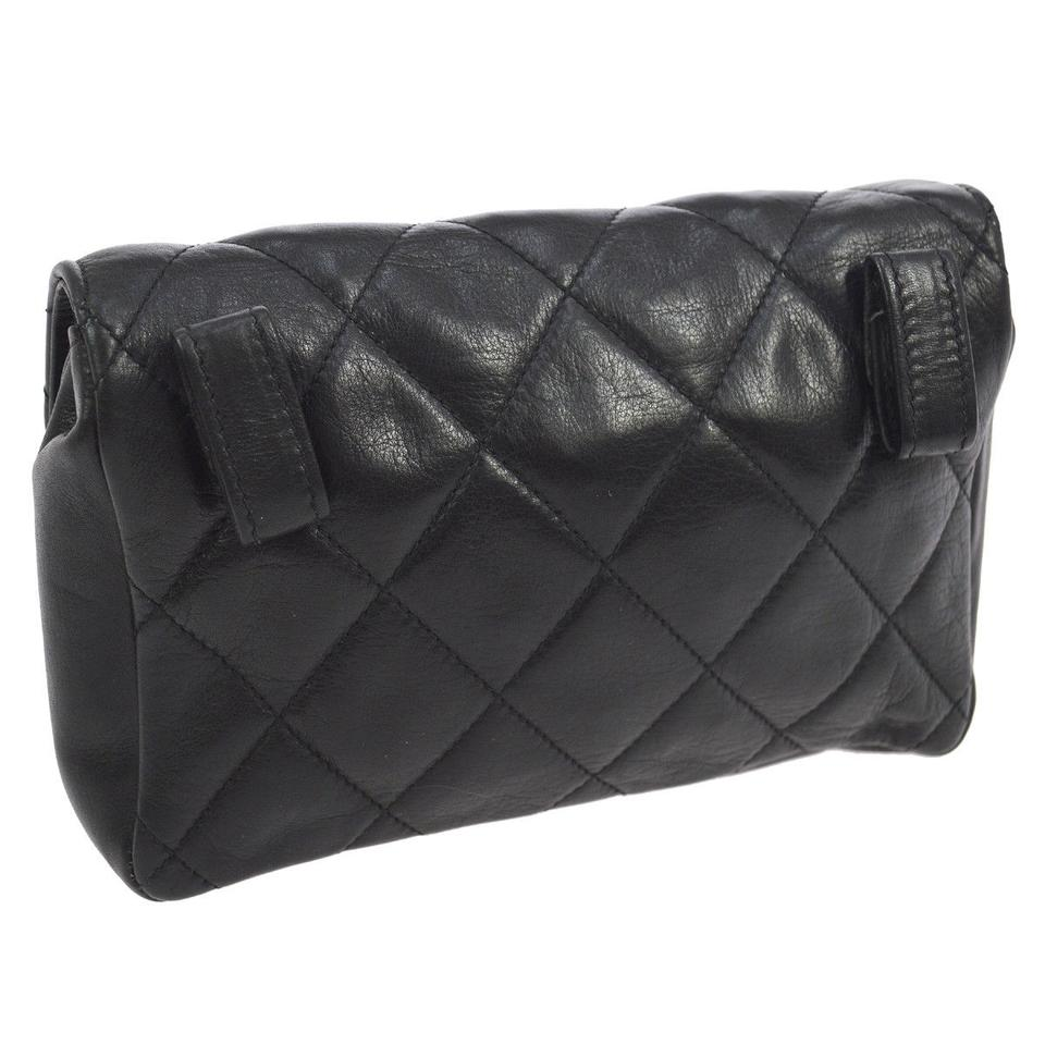 76eb180d6634 Chanel Waist Bag Mini Quilted Bum Black Leather Clutch - Tradesy