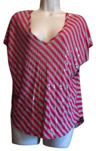 Daytrip T Shirt red and grey stripe