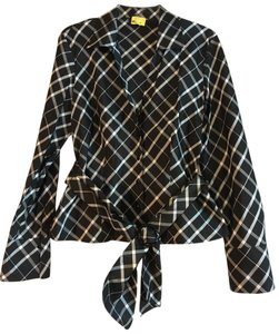 Jones New York Plaid Checkered Silk Belted Formal Top Black White