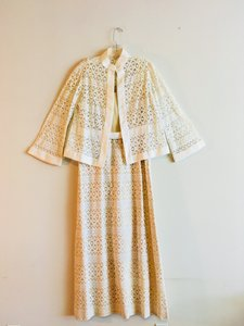White Maxi Dress by Huey Waltzer Maxi Lace Vintage Cut-out Floral