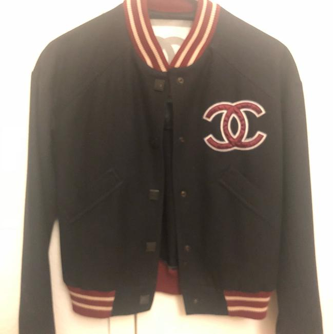 Item - Navy and Burgundy Vintage Varsity Jacket Size 2 (XS)