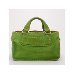 Céline Suede Studded Tote in Green