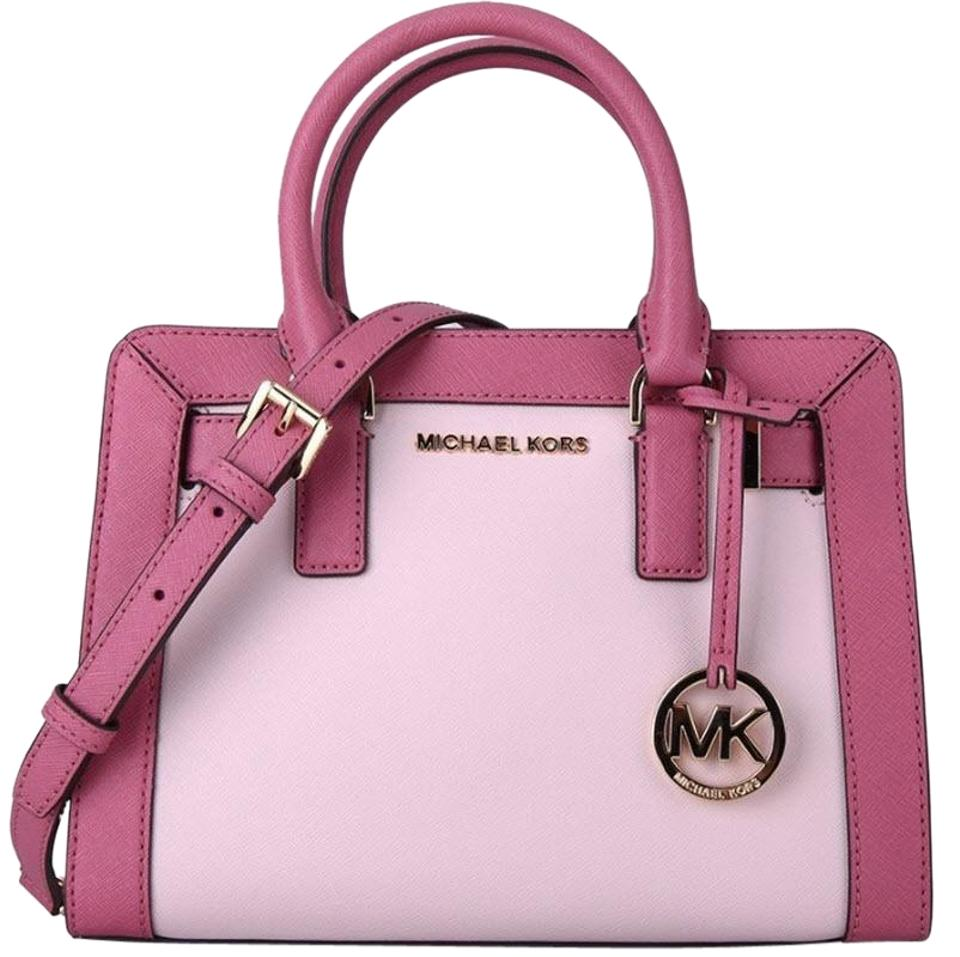 796bc4a002d407 Michael Kors Dillon Small Monogram Brown Crossbody Strap Satchel in tulip  blossom pink Image 0 ...