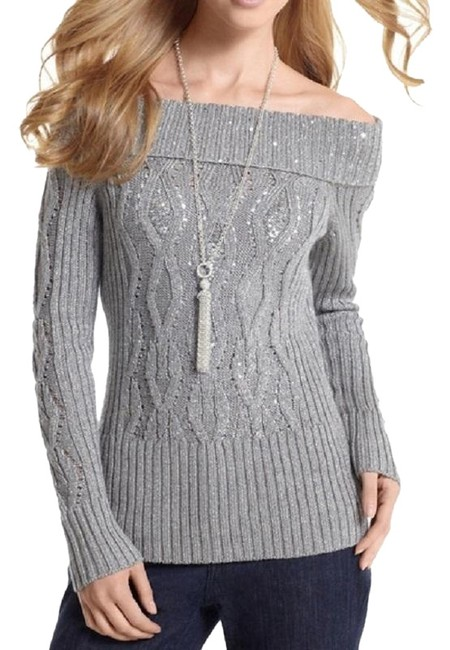 Item - With Sequin Cable Gray / Silver Sweater