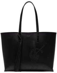 Saint Laurent Handle Shoulder Leather Classic Tote in Black