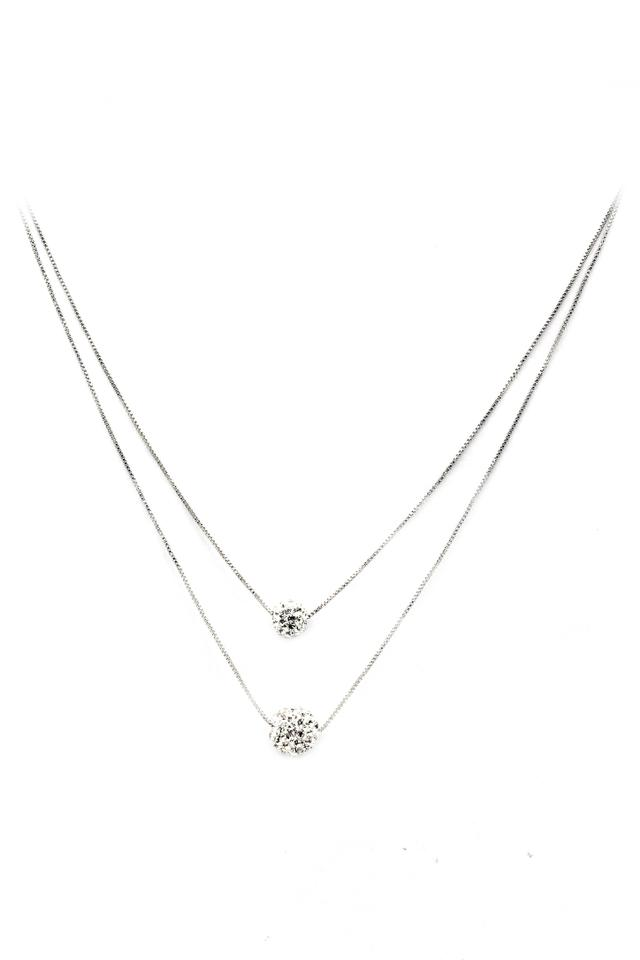 51f62d3e06381 Silver Lady Double Chain Crystal Ball Necklace