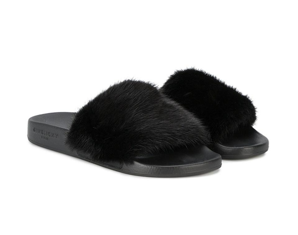 Givenchy Black Paris Noir Mink Fur Flop Mule Pool Slide Flip Flop Fur Flat Sandals a17b44