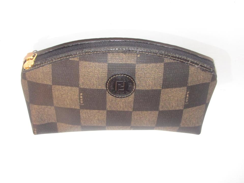 a8ed3a65868 Fendi Timeless Style Clutch/Cosmetic Zip Close Curved Top Mint Vintage  checkerboard print coated canvas. 123456789101112
