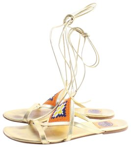 Tory Burch Thongs Flip Flops Sandals Strappy Gold Flats