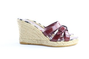 Burberry Espadrille Cherry Berry Maroon Wedges