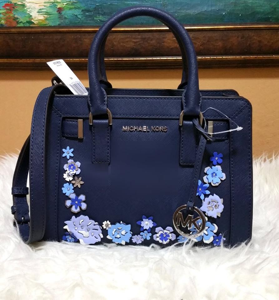 96b572453737 Michael Kors Dillon Small Floral Crossbody Navy Leather Satchel ...