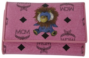 MCM MCM Visetos Pink Leather Lion Print Trifold Wallet