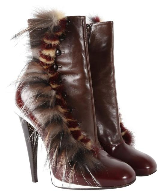 Item - Burgundy Leather Fur Trim Boxcalf Button Boots/Booties Size US 9 Regular (M, B)