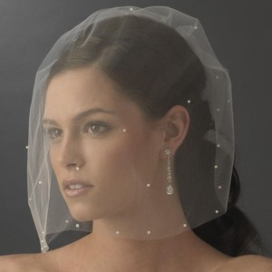 Elegance by Carbonneau Ivory Birdcage Face Scattered with Pearls Bridal Veil