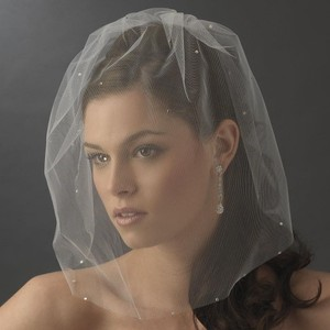 Elegance by Carbonneau Ivory Birdcage Single Tier Scattered with Rhinestones Bridal Veil