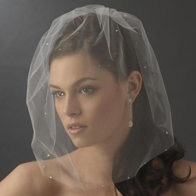 Item - Ivory Birdcage Single Tier Scattered with Rhinestones Bridal Veil