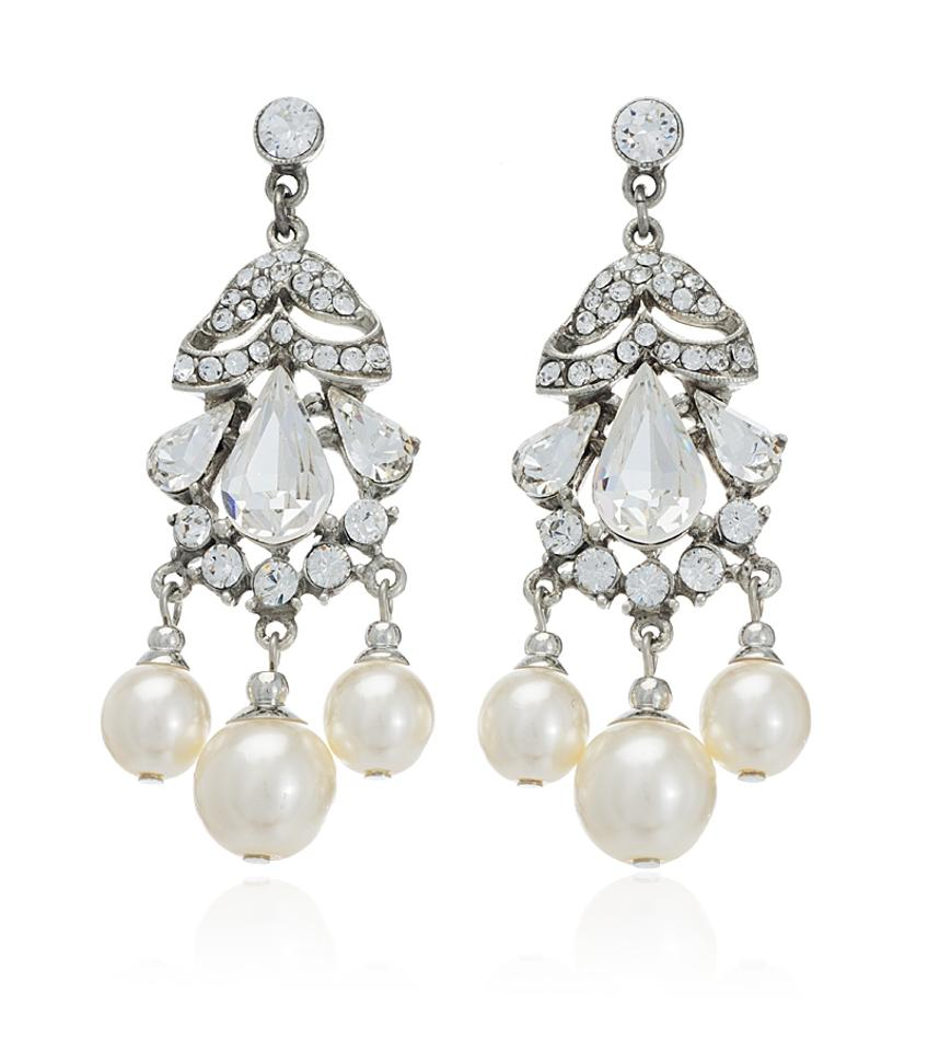 Ben-Amun Clear Pearl and Crystal Olivia Earrings ...