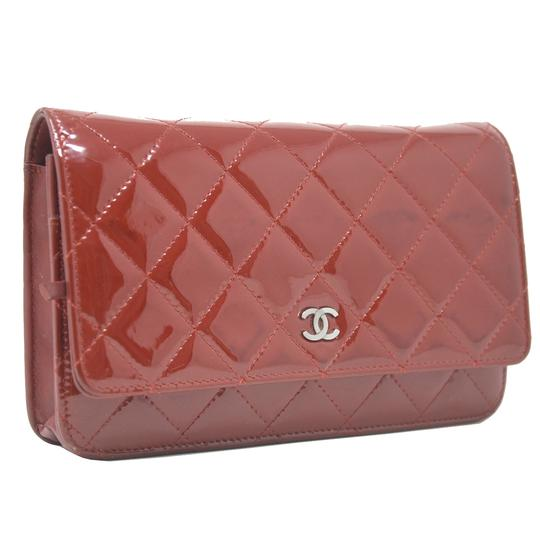 Chanel Patent Leather Shoulder Red Clutch Image 1