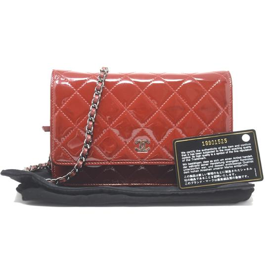 Chanel Patent Leather Shoulder Red Clutch Image 11