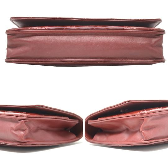 Chanel Patent Leather Shoulder Red Clutch Image 4