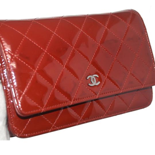 Chanel Patent Leather Shoulder Red Clutch Image 5