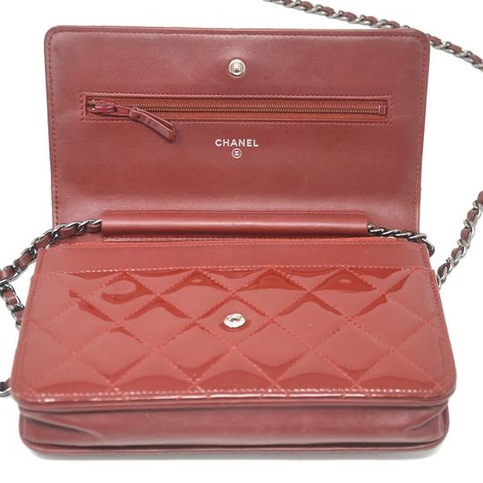 Chanel Patent Leather Shoulder Red Clutch Image 6